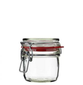 Swing top Honey Jar 255 ml white and red seal