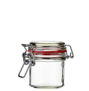 Swing top Honey Jar 125 ml white and red seal